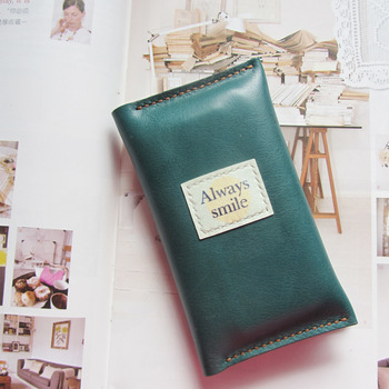 Handmade leather wallet mobile phone bag