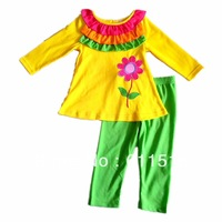 free shipping 5sets/lot brand quality Super nice Amer-Europe girl flower print yellow shirt and green Leggings 2 pcs outfit