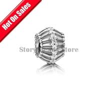 Fashion Jewelry 925 Sterling Silver Loose Slide Beads with Rhinestone Crystal, European Thread Charm Bracelets DIY Making GC105