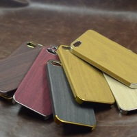 Free Shipping 50pcs/Lot Elegance Gold or Silver Side Wood Grain Leather Case For iPhone 5 5G, PU Leather Cases Cover Shell