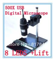 2013 NEW 50~500X USB Digital camera Digital Microscope 8 LED Endoscope Magnifier Camera 1.3 Million Pixels+Lifting Holder
