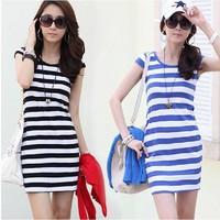 2014 New spring brand women Dress Elegant Women's clothing stripe contrast color Pack hip Women dress Slim thin plus size xxxl