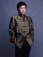 Commercial chinese style gold pattern woven damask male tang suit outerwear tb1520