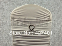 Hot Sale White Spandex Bands / Lycra Band /Chair Covers Sash With Heart Shape Diamond  Buckle For Wedding & Banquet
