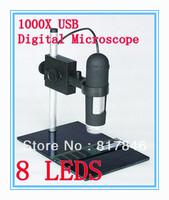Free shipping 2013 NEW 1000X USB Digitl camera Digital Microscope 8 LED Endoscope Magnifier Camera+Lifting Holder