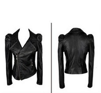 2013 New Fashion Women's Casual Small PU Leather Jacket Motorcycle Zipper Coat Outerwear  Freeshipping