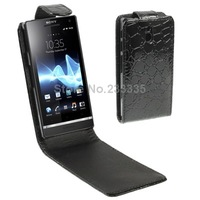 Free shipping Crocodile Texture Vertical Flip Leather Mobile Phone Case Holster for Sony Xperia P / LT22i (Black)