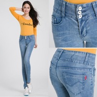 Seventh High Quality New Fashion Skinny Wild Washed Vintage Mid Waist Zipper Fly Button Cotton Women Pencil Jeans 2013 Autumn