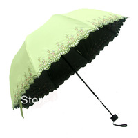 2013 New Chinese  embroidery flower 3 folding umbrellas vinyl sunscreen super anti-uv sun protection manual umbrella