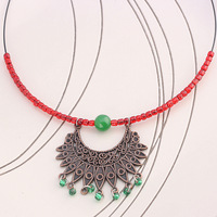 Handmade national trend chinese style malay jade copper collar xl471