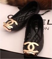Dresses New Fashion Shoes 2014 Metal Decorative Comfortable Soft Bottom Flats Shoes Women Shoes Plus Size Free Shipping