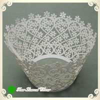 Wholesale 60pcs/ lot White Little Daisy designs Laser cut Cupcake wrappers Great for weddings,decorative cupcake boxes