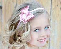 Free shipping  Flash bead bowknot Pearl Hair band Baby Headband