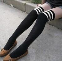 Non-mainstream women's black and white stripe knee-high socks stockings over-the-knee socks girls long socks
