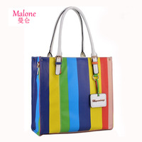Fashion 2013 trundled women's handbag fashion bag stripe color block japanned leather messenger bag