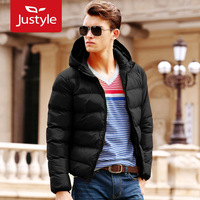 Justyle2013 male fashion with a hood cotton-padded jacket thermal short design men's wadded jacket outerwear clothing