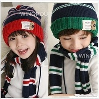 Bear stripe knitted hat autumn and winter hat set pocket baby hat child hat scarf 2 piece set