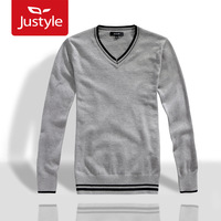 2013 autumn and winter Men V-neck fashion dazzle male 100% pullover sweater cotton sweater