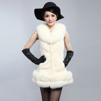 2013 Luxury Winter Women's Natural Rex Rabbit Fur Vest With Fox Fur Collar Hem Female Sleeveless Waistcoat VK1159
