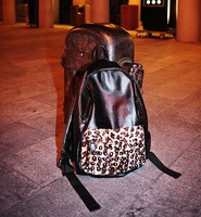 xams gift bag 2014 female leopard print rivet  vintage preppy style student school  fashion messenger