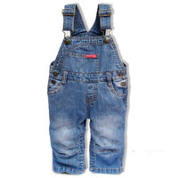 Baby spring and autumn tannase denim bib pants infant baby child open-crotch rompers