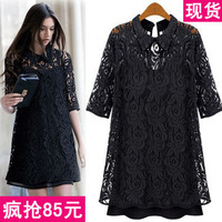 Autumn new arrival 2013 fashion turn-down collar lace chiffon one-piece dress female