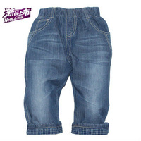 2013 child baby spring and autumn summer ultra thin soft water wash jeans long open file rompers