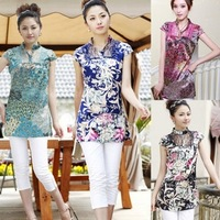 Hot-selling fancy short-sleeve top elegant vintage tang suit short qipao female plus size Free Shipping M-XL