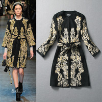2013 autumn and winter women fashion embroidery flowers vintage gold thread woolen overcoat outerwear