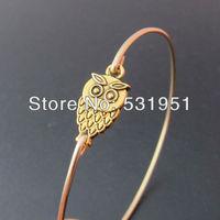 Free Shipping !!6pcs  High Quality Jewelry  Gold Owl Charm Bangle Bracelet
