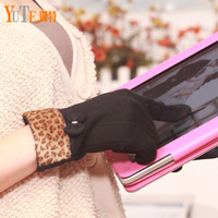 Women's gloves cotton autumn and winter thermal bow touch screen gloves