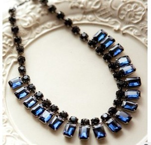 Popular exquisite vintage blue rhinestone choker necklace, Luxurious fashion jewelry, Factory direct