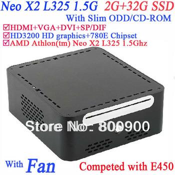 small footprint computer with Slim ODD CD-ROM AMD Athlon Neo X2 L325 2G RAM 32G SSD windows or linux preinstalled HD3200 Graphic