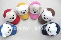 Winter cap children cute bear hats and caps 2013 fluffy cotton 6 color designer baby baseball cap 10 pcs/lot free shipping