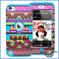 Wholesale Cheap Watertransfer Printing Aztec Tribal Pattern Combo Plastic Silicon Shock proof Hybrid Case Cover for  ipod touch5