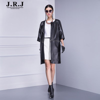 Jrj 2013 autumn clothing female genuine leather sheepskin trench women's long design leather coat