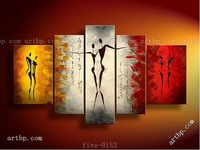Hand Painted Free Shopping Vintage Portrait Oil Paintings Painting On Canvas Lover Tango Dance 5Pcs Set Wall Decoration Art