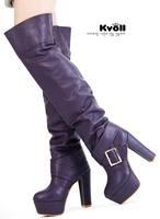 Kvoll tiangao platform thermal platform thick heel over-the-knee 25pt 51001 black