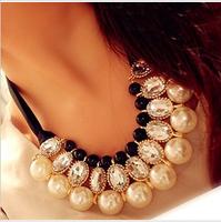 Free Shipping Cheap Paragraph elegant sparkling  gem pearl mix match ribbon formal dress necklace short necklace