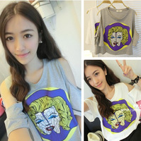 Monroe print Avatar strapless new sexy fashion short sleeve croped Tee women top cropped harajuku T-shirts free shipping C100