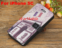 Leather Case Mobile Phone Case Wallet Book Case  For iPhone 5C free shipping