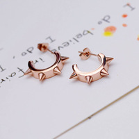 high quality cheap jewelry Fashion punk rivet 18k rose gold stud earring color gold earrings
