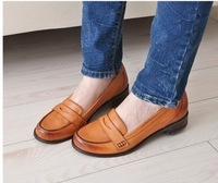 2013 cowhide shoes vintage comfortable casual shoes british style genuine leather thick heel shoes