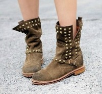 Free Shipping Fashion Vintage Faux Leather Motorcycle Boots Rivet Low-heeled Boots