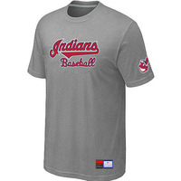 Free Shipping Wholesale Cheap Cleveland Indians L.Grey Short Sleeve Practice T-Shirt Men's Size 48-56 Baseball Jerseys-NI