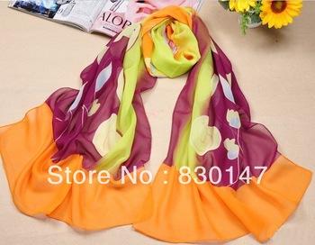 Free Shipping!!! 2013 Wholesale Handmade And Factory Directly Sale Fashion Silk Pashmina Chiffon Scarf Long