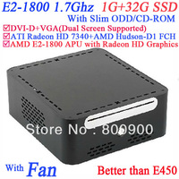 2013 nice htpc mini itx with AMD E2-1800 APU Radeon HD Graphics with Slim ODD CD-ROM 1G RAM 32G SSD alluminum Windows or linux