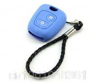 Blue Silicone Shell Case Holder For Peugeot 107 207 307 407 106 206 306 C2 Remote Key
