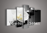 5 Panel Wall Art No Framed Modern Abstract Acrylic Flower Black & And White Leinwanbild Orchid Oil Painting On Canvas Artwork