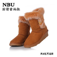 Snow boots cow muscle outsole boots fox fur rabbit fur 5803 button women's wedges shoes platform shoes